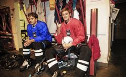The Pack hockey dressing room actors Martin Badura and Michal Dluhos